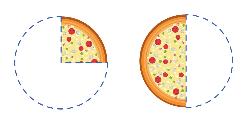 Addition of fraction with pizza slices as example